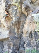 Aaron entering the crux