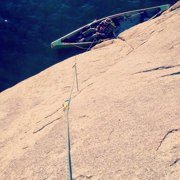 Watson Lake climbing. Some routes you must travel by Canoe to access. Slab, thin holds