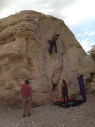 Rock Climbing Photo: Finding zen on highballs, this is in the sandstone...