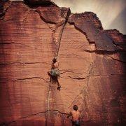 Rock Climbing Photo: Near the Yin, Yang Crack. 5.9