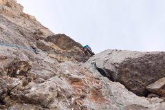 Rock Climbing Photo: 55mph winds blew as I led up the fourth pitch.  Do...
