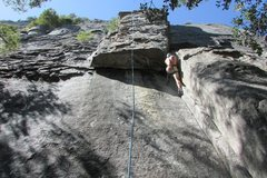 Rock Climbing Photo: TRing thru the first crack and roof before finishi...