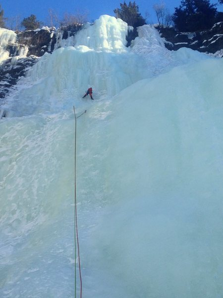 Rock Climbing Photo: Nick leading up the mellow first pitch of Rain Che...