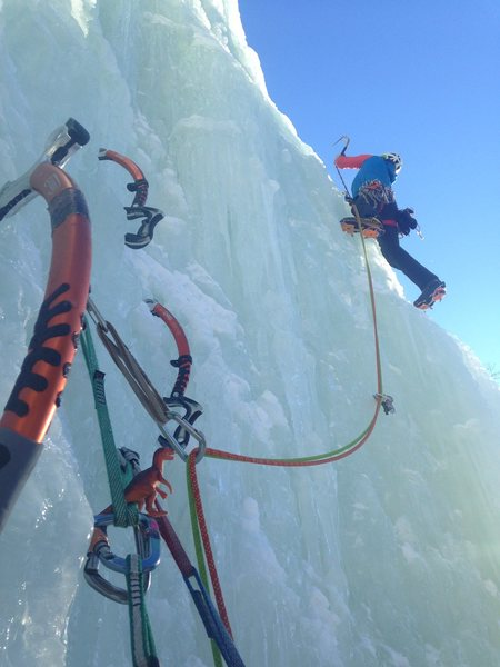 Sending off onto the second and crux pitch of Rain Check in perfect conditions.