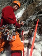 Rock Climbing Photo: Replacing the rap station on the traverse to reach...