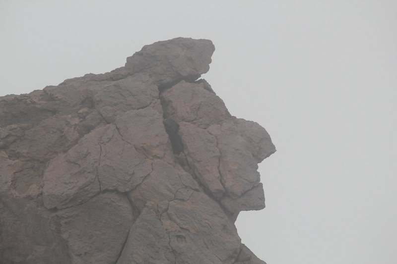 Weird rock towards the summit that looks like Abe Lincoln