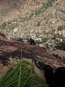 Rock Climbing Photo: Jersey Girl on crux pitch.