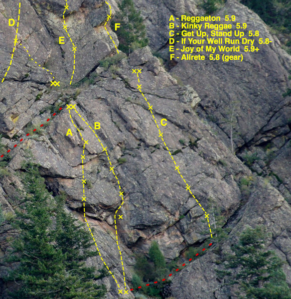 """Front Triangle topo, showing possible connections to """"upper pitches"""" on routes on the Second and Third Triangles."""