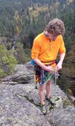 Rock Climbing Photo: Getting ready to put the rope through the chains t...