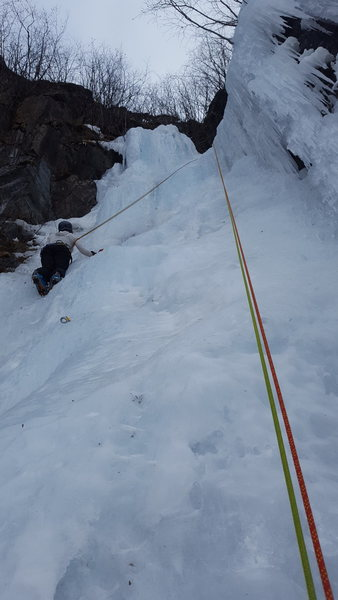 Ilene enjoying some moderate climbing has a nice warm up before her first multi-pitch ice route. ;) yeah!!