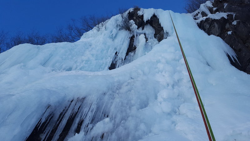 The proud side of the crux pitch makes for a quality line that Rivals any other hundred foot vertical piece of ice in Valdez.