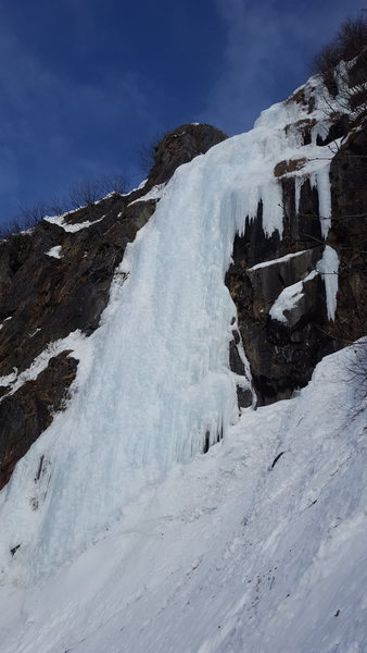 This is the Crux pitch consisting of 100 feet of nearly vertical ice that adds to the list of classic ice climbs in the Valdez area