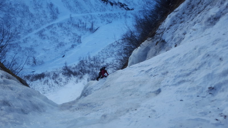 Here is Constance crushing the approach pitches to get to the base of the climb.