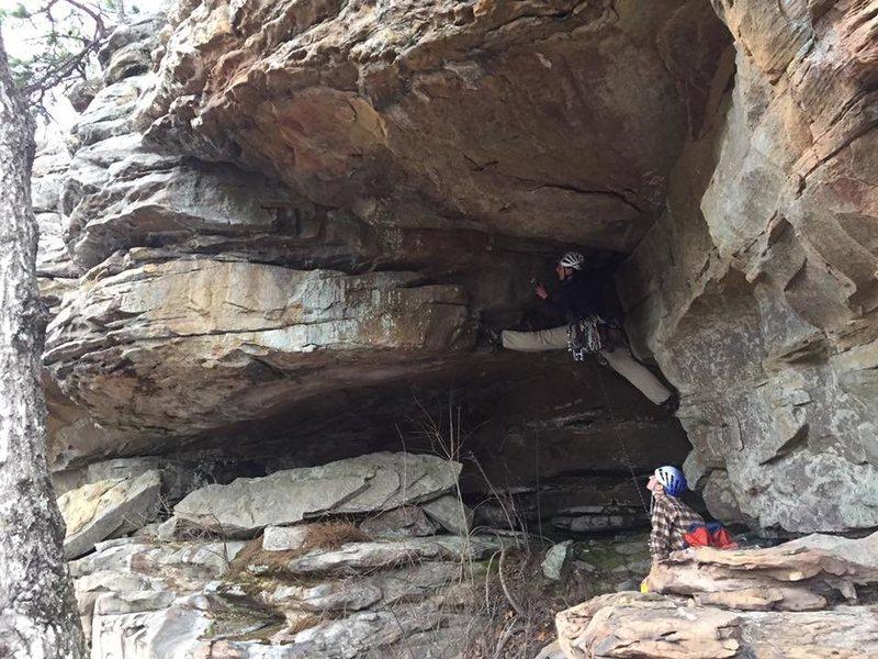 "Rock Climbing Photo: Fun roof climb, so close to the ""ground""..."