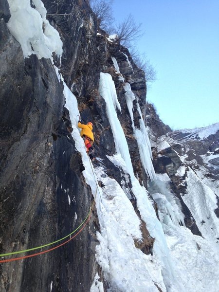 This is the second pitch after crossing a ramp 2/3's of the way up the climb.
