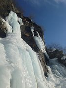 Rock Climbing Photo: This route can be seen as a number of hanging ice ...