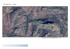 Rock Climbing Photo: Yellow line: the climbing pitches; bolts are visib...