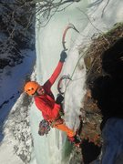 Rock Climbing Photo: Topping out on Rain Check WI4