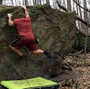 Rock Climbing Photo: Me throwing the first big move on Stegosaurus