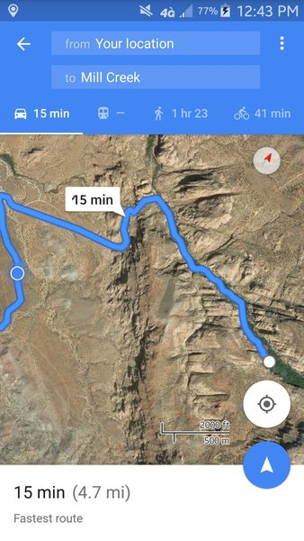 Directions to this area: Follow google maps to the GPS location that mountain project has for mill creek.