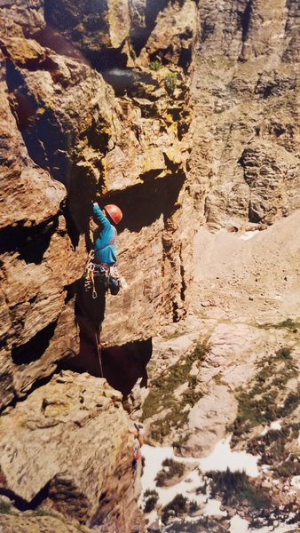 Dan starting the 4th pitch on the inverted staircase.