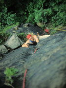 Rock Climbing Photo: Jerry Erb storming up our second pitch, 7-5-77. I ...