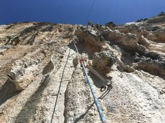 Rock Climbing Photo: Looking up at the meat of the route from about the...