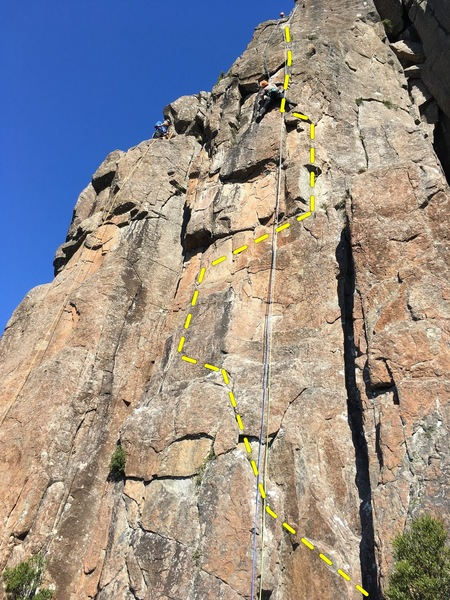 Richard Bugg following All Systems Go, with Neale Smith belaying above.