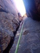 Rock Climbing Photo: P5 chimney on Frigid air Buttress