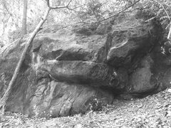 One of the many boulders in this site, a little white arrow indicates the start of a problem
