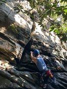 Rock Climbing Photo: Max leading Apollo's Crack