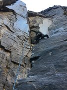 Rock Climbing Photo: Kristina P. working her way into the Dihedral face...