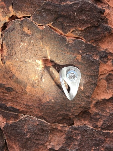 Rock Climbing Photo: First bolt on the route stamped with my fathers in...