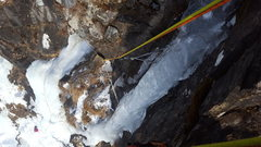 Rock Climbing Photo: You can see the thin top section of this route on ...