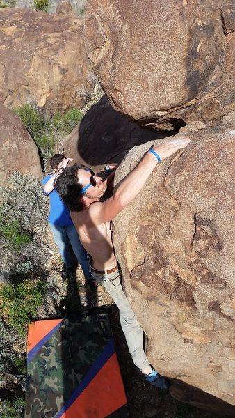 Rock Climbing Photo: Tyson climbs Sun Ripe (V2)