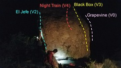 Night climbing on the Grapevine Boulder (spring 2017).