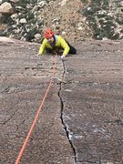 Rock Climbing Photo: Riley Friesen cruising pitch 5