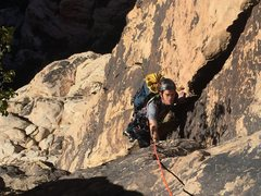 My brother Clay on his first-ever-outside-multipitch climb!  Way to go Clay!