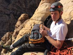 My brother Clay - 2nd outdoor climb ever.  Go big or go home!