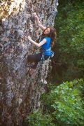 Rock Climbing Photo: Emma Stevens climbing gout of the the trees and lo...