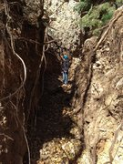 Rock Climbing Photo: The deep gully created by the flash flood at the b...