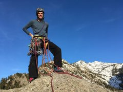 Rock Climbing Photo: Cass on the Summit_Winged Warrior_April 2017.
