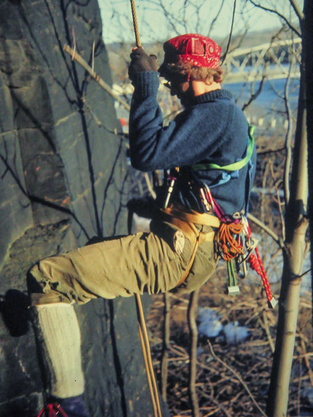 "1976, cleaning routes by the RR tracks.  Love it:<br> self-tied 1"" webbing harness, knickers, goldline rope, miller mitts, and wool.  Practically a museum diorama.  (Jerry Erb crushed back then.)"