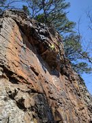 Rock Climbing Photo: I commit to the heel hook to pull over the roof on...