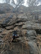 Rock Climbing Photo: Jon traverses right after the 1st bolt to get onto...