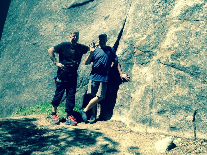 Here&@POUND@39@SEMICOLON@s a pix of me and my life time friend Bill Price who got me in to climbing when we were little boys at the base of Cat&@POUND@39@SEMICOLON@s Squirrel a route he put up years ago. When he first put it up he aided up the crack to put in the anchors then climbed it clean leaving a fixed pin to protect the opening moves. These days the pin has been removed and a bolt added by someone to protect the opening moves, just a little history on this route, happy climbing Mike A.