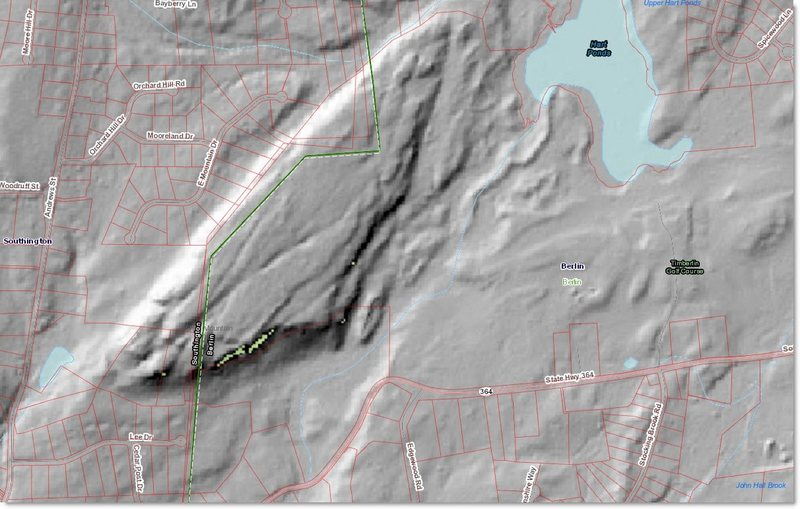 LiDAR Scan of Short Mountain showing Winter Wall and other SE facing cliffs in bright yellow. All NW facing cliffs appear in White.