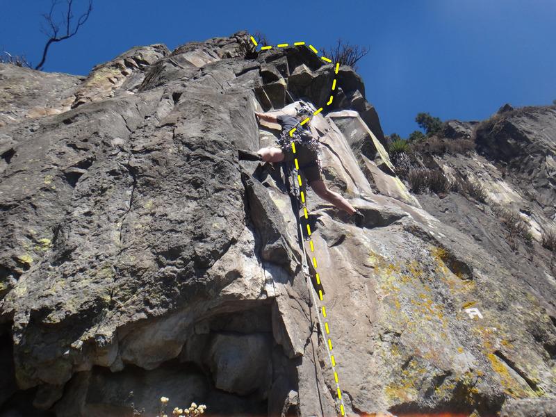 Mauricio Herrera Cuadra climbing the start of El Techo de Limites.<br> <br> Photo by Armando Dattoli.