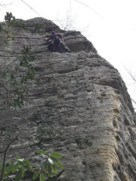 Rock Climbing Photo: Ben just below the anchors on Amelia's Birthda...