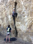 Rock Climbing Photo: Greg starting up Forearm Smash on a beautiful Apri...